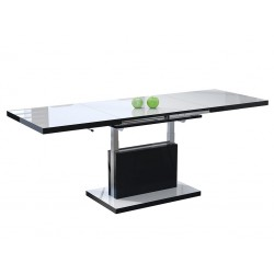 ASTON biely lesk / čierny lesk - rozkladací, zdvíhací, konferenčný stolík, čiernobiely