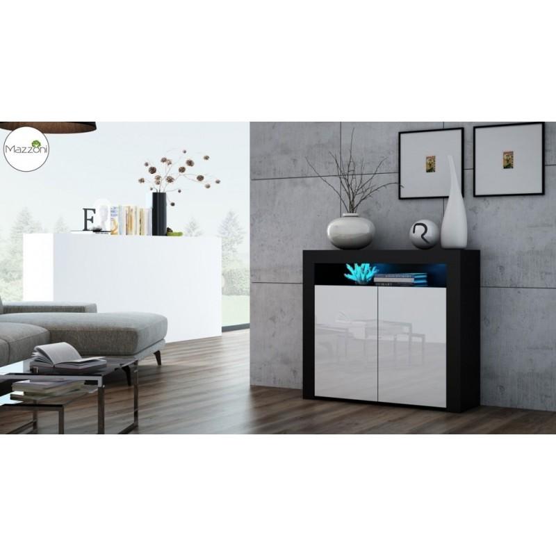 MILA 2D LED skrinka čierny / biely lesk, obývacia izba