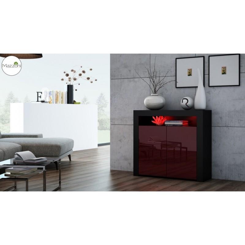 MILA 2D LED skrinka čierna / burgund lesk, obývacia izba