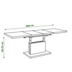ASTON bílý, rozkládací, zvedací konferenční stůl, stolek