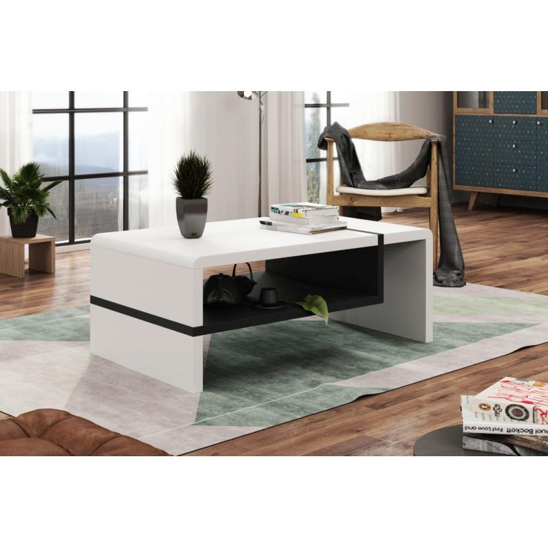 FOLK biely/čierny - konferenčný stolík, obdĺžnikový, laminát, moderný