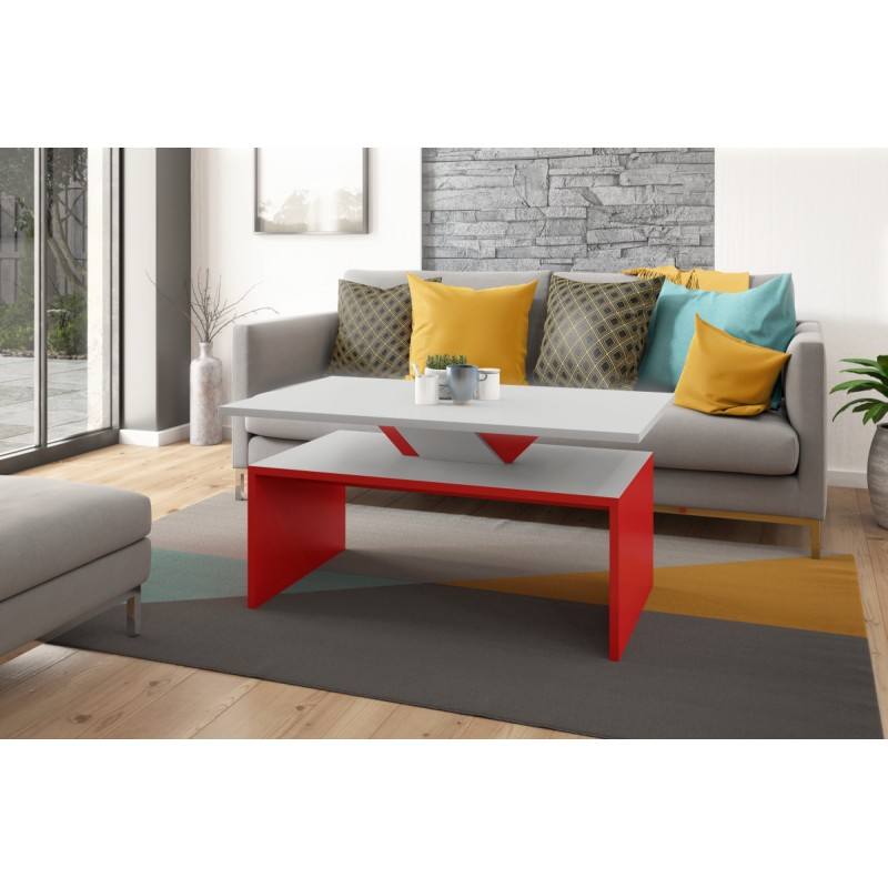 SISI sivý kameň + červený, konferenčný stolík