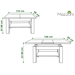 ASTORIA dub craft zlaty, rozkladacia, zdvíhací konferenčný stôl, stolík