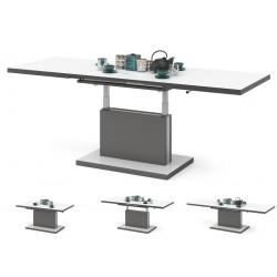 ASTON biely + antracit (tmavý šedý), rozkladací, zdvíhací, konferenčný stolík