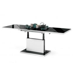 ASTON čierna lesklá / biela, rozkladací, zdvíhací, konferenčný stolík, čiernobiely