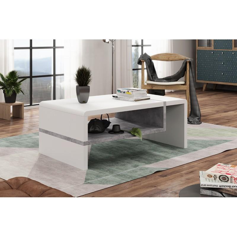 FOLK biely / beton - konferenčný stolík, obdĺžnikový, laminát, moderný