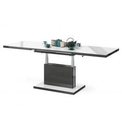 ASTON biely lesk / antracitový lesk, rozkládací, zvedací konferenční stůl, stolek
