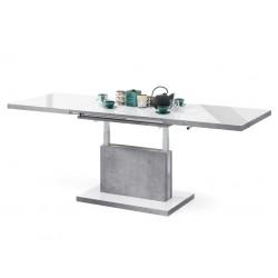 ASTON biely lesk / beton, rozkladací, zdvíhací, konferenčný stolík