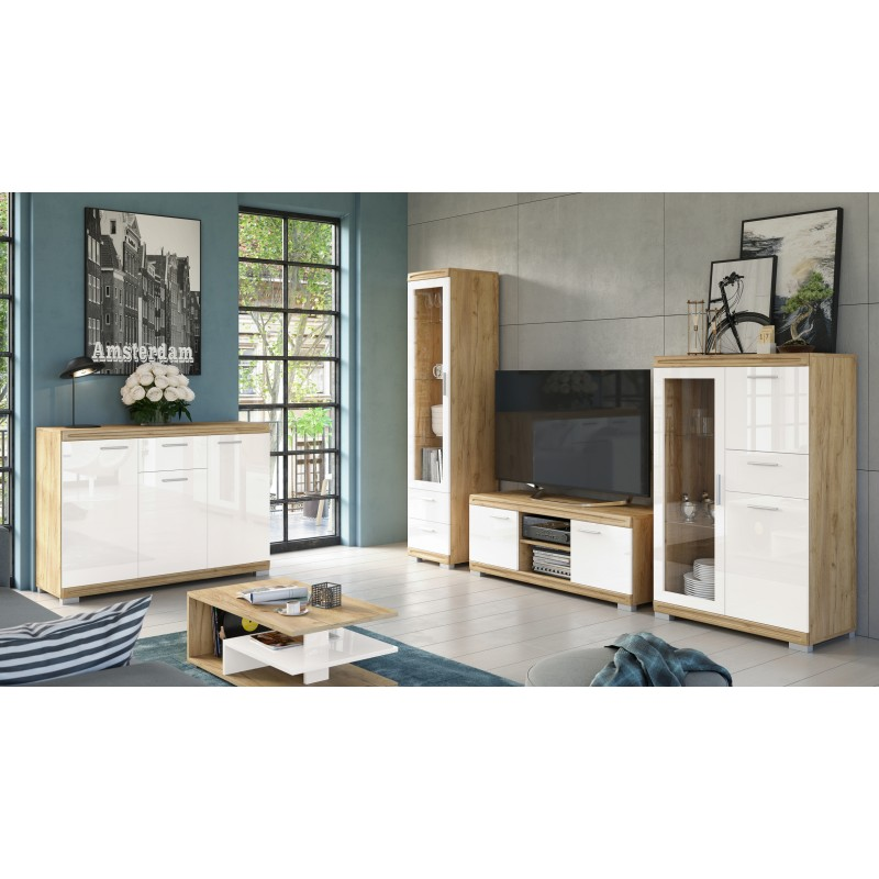 Obývacia stena SIMPLE zlatý dub / biely lesk