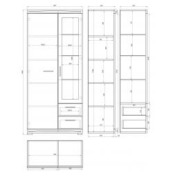 Obývacia stena SIMPLE 3 zlatý dub / biely lesk