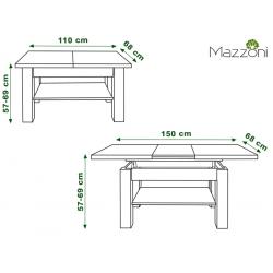 ASTORIA betón / čierna, konferenčný stolík, rozšíriteľný