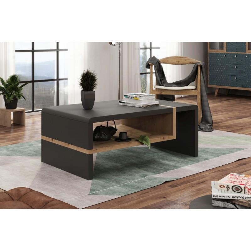FOLK antracit / dub artisan, konferenční stolek, moderni