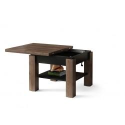 CLEO hnedý dub / čierna, rozkladací, zdvíhací konferenčný stôl, stolík