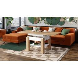 CLEO zlatý dub / biela, rozkladací, zdvíhací konferenčný stôl, stolík