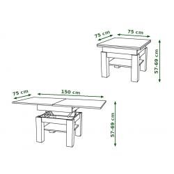 CLEO zlatý dub / čierna, rozkladací, zdvíhací konferenčný stôl, stolík