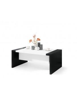 SPACE biely / čierny, rozkladacia konferenčný stolík, výškovo nastaviteľný