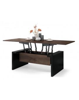 SPACE hnedý dub / čierny, rozkladacia konferenčný stolík, výškovo nastaviteľný