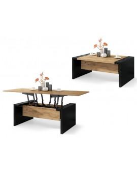 SPACE zlatý dub / černý, rozkládací konferenční stolek, výškově nastavitelný