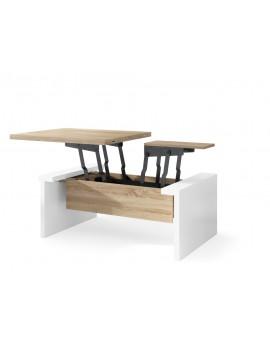 SPACE dub sonoma / biela, rozkladací konferenčný stolík, výškovo nastaviteľný